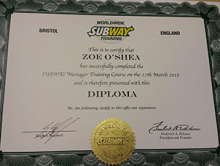 Well done to Zoe and Sophie at Subway HQ!